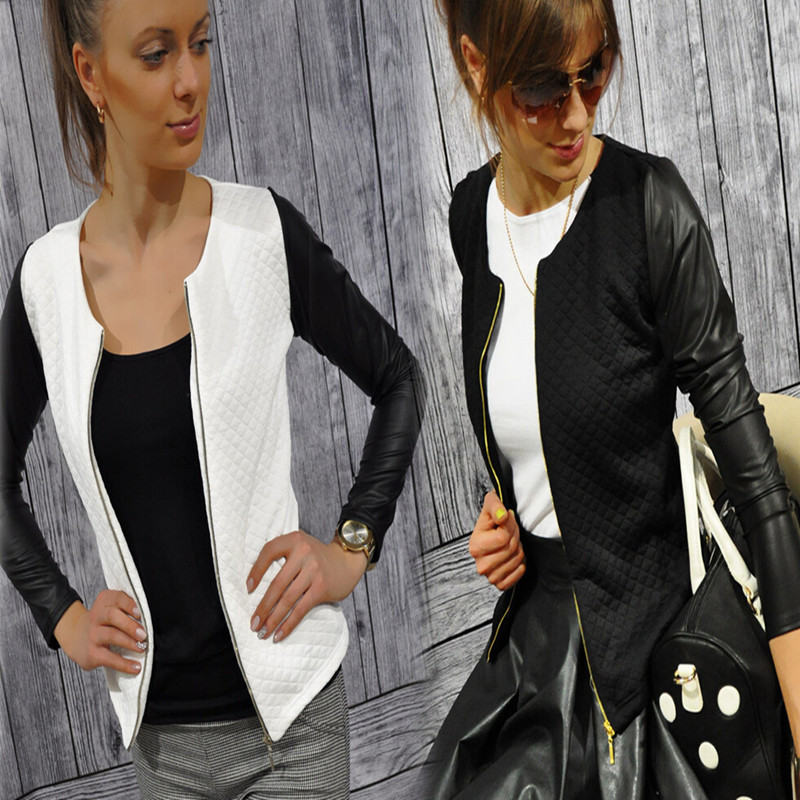 Fashion New font b Slim b font Ladies Women Suit Coat Jacket Zipper Black White Colors