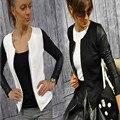 La moda de Nueva Delgado Mujeres de Las Señoras Traje de Chaqueta de Abrigo de Cremallera Negro Blanco Colores chaquetas de invierno y abrigos