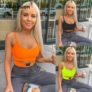 Image 2 - Abardsion لون النيون المحاصيل الأعلى مثير المرأة بلا أكمام الصيف بلايز 2019 الأخضر البرتقالي نحيل كاميس اقتصاص السيدات منخفضة قطع مشبك علوي