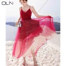 Dress OLN Vestidos Korean New V-neck Grey Slim Thin Long Sling Mesh