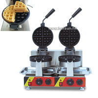 Commercial Non Stick Electric Dual Rotating Belgian Liege Waffle Maker Iron Mach
