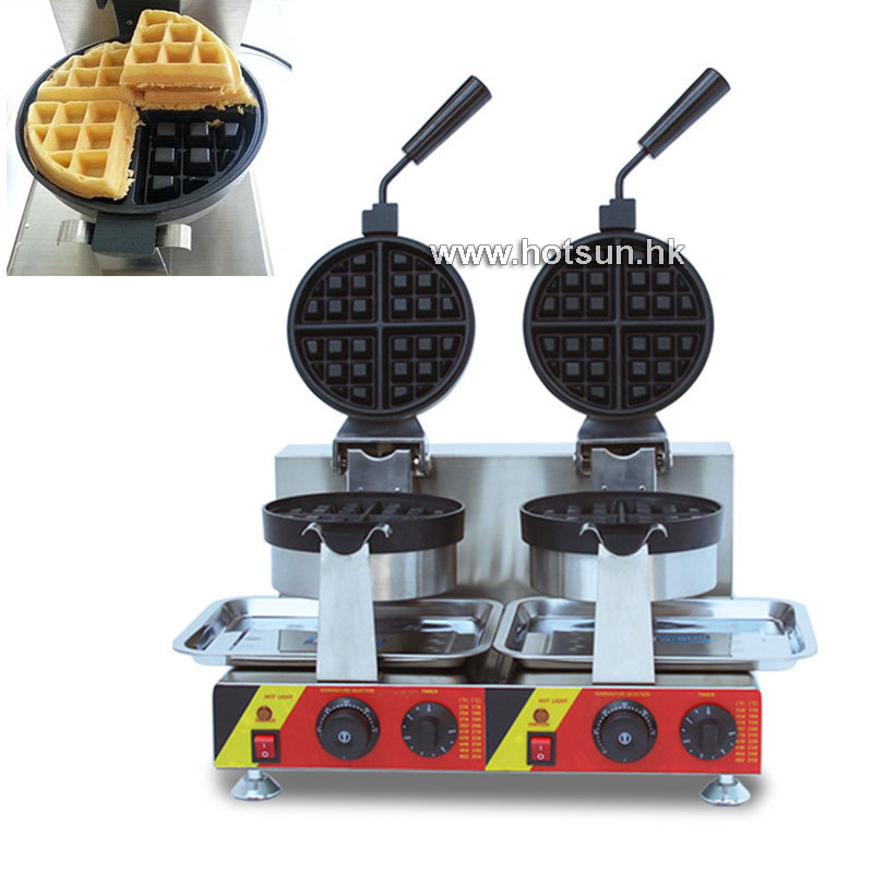Commercial Non-stick Electric Dual Rotating Belgian Liege Waffle Maker Iron Mach 110v 220v commercial use non stick electric belgian waffle liege waffle maker iron