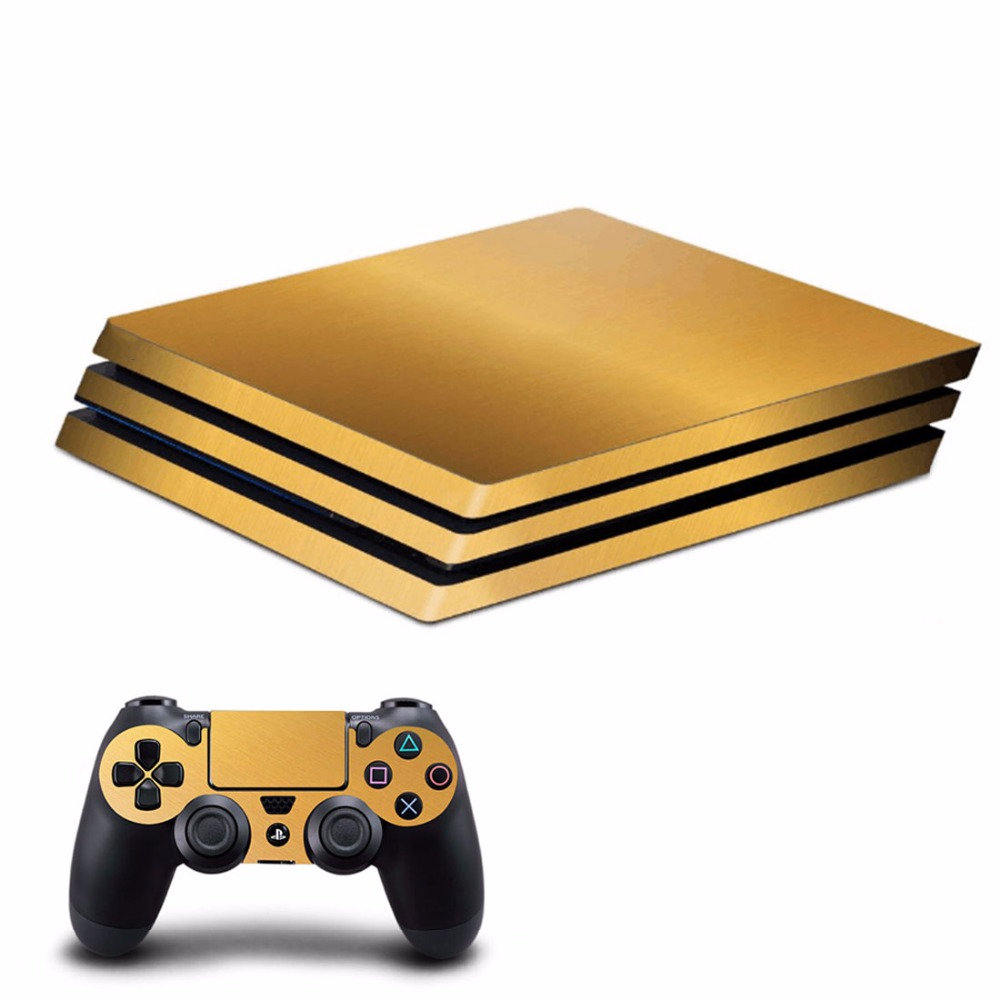 OSTSTICKER Gold For Sony PS4 Pro Vinyl Skin Sticker Cover For Playstation 4 Pro Console and Controller Decal