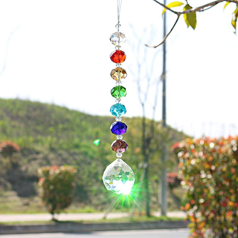 H&D Rainbow Pendant Crystal 30mm Ball Suncatcher Prisms DIY Chandelier Hanging Drop Parts Home Window Fengshui Hanging Ornament
