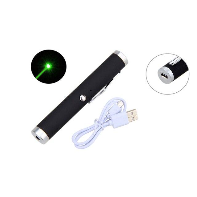 מצביע לייזר עט שחור מיני נייד USB נטענת אדום ירוק לייזר עט 5 mw ירוק 532nm/אדום 650nm