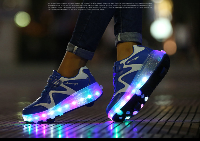 New Popular Kids Glowing Sneakers With Wheels Children Led Shoes Boys Girls Light Up Roller Skate Shoes Stars tenis de rodinha1