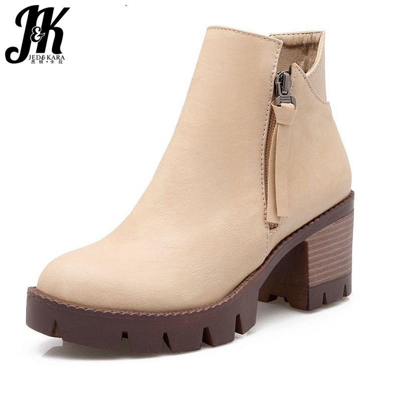 Fashion Women Shoes Ankle Boots Add Fur Autumn Winter Boots Platform Skid Proof Fall Winter Boots Casual Outdoor Shoes 34-44 wetkiss big size 34 43 fashion lace up platform knee boots add fur retro thick high heels skid proof fall winter shoes woman