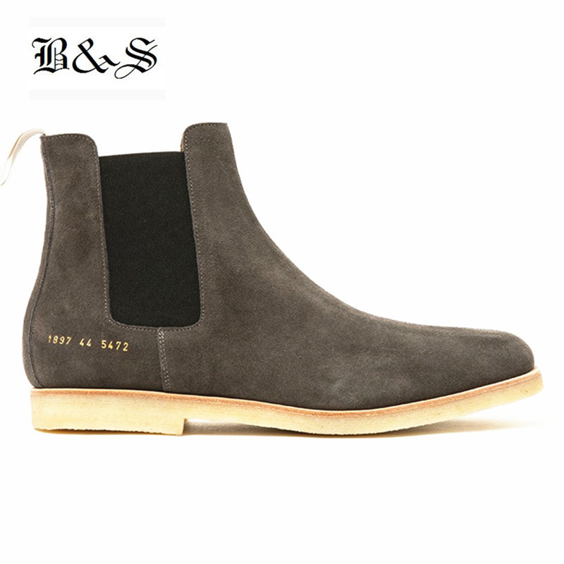 US $100.07 22% OFF|Black& Street Handmade West Kanye Suede Chelsea Boots Vintage Raw Rubber England Men slip on Genuine Leather Ankle Boots in Chelsea
