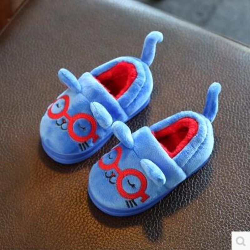2017 Winter Child Casual Shoes Cotton-padded Female Male Thermal Kitten Drag Snow Boots Cartoon Slip-resistant Home Slippers