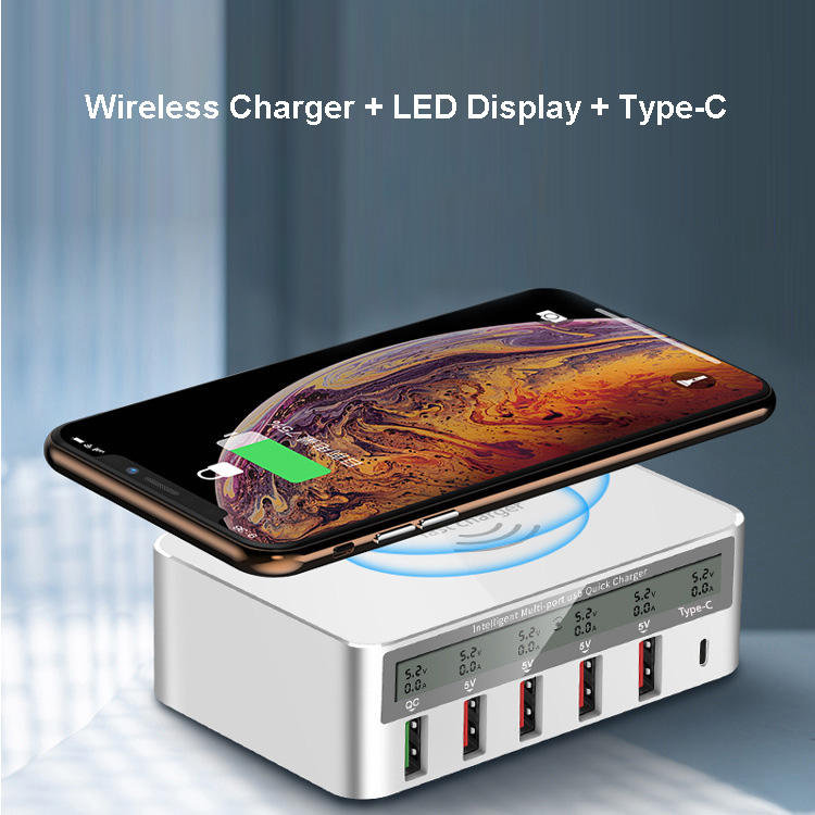 QI chargeur sans fil Charge rapide 3.0 6 Ports USB type C adaptateur chargeur rapide pour iPhone XS MAX SAMSUNG S10 Plus S9 Note 9QI chargeur sans fil Charge rapide 3.0 6 Ports USB type C adaptateur chargeur rapide pour iPhone XS MAX SAMSUNG S10 Plus S9 Note 9
