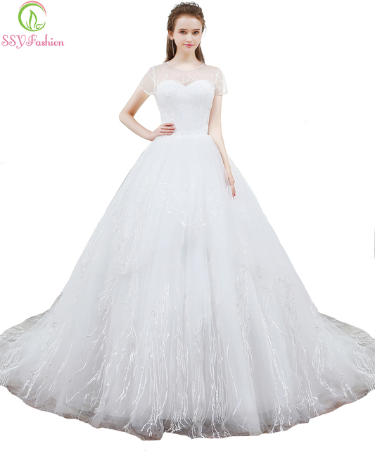 SSYFashion New Simple Wedding Dress The Bride Married White Lace ...