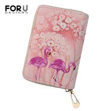 FORUDESIGNS Cartoon Women Business PU Card Holder Flower Flamingo Printing Pattern Girls Money Purses Bags Fashion Cluth Wallets