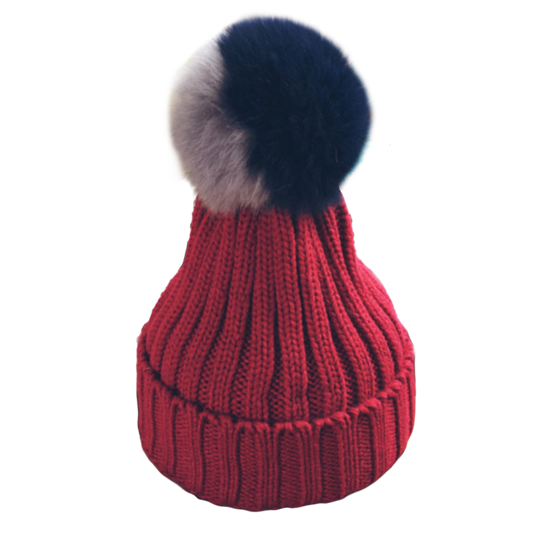 Winter hat For Women Patchwork fox fur pom poms ball beanies cap lady girls' wool knitted crochet hats thick female gorros caps