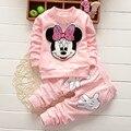 Meninas do bebê Crianças Minnie Encabeça impressão Calças Roupas Definir a Roupa Das Crianças
