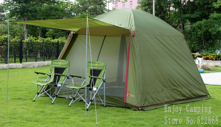 Large space 5-8person waterproof double layers camping tent with one pair of door poles in one person