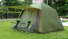 Большое пространство 5-8person водонепроницаемый двойные слои палаточного городка с одной парой двери полюсов