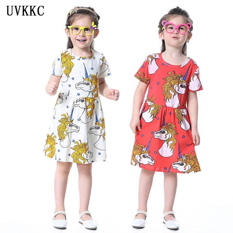Heta tjejer unicorn klänning sommar tecknad licorne midja dinosaur ... 7c5393889a25a