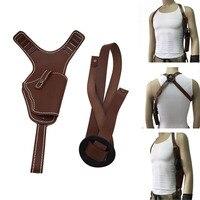 Hunting Tactical Universal Hand Gun Holster Vertical Shoulder Auto Handguns Cowhide Holster Adjustable Leather Gun Bag