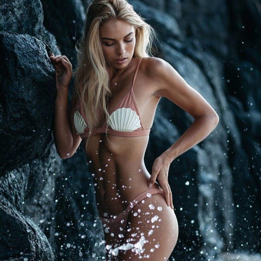 Black Pink Shell Pearl Bikini Swimsuit Swimwear Women Swim wear Bathing Suit 2017 Sexy Mermaid Thong Biquini Set Maillot De Bain sexy tanga neon bikini strappy fluorescent colors swimsuit rainbow swim wear women s thong bottom bathing suit