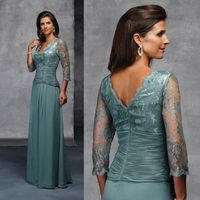 Cheap Elegant A Line V Neck Long Sleeve Mother Of The Bride Lace Dresses Online Parties