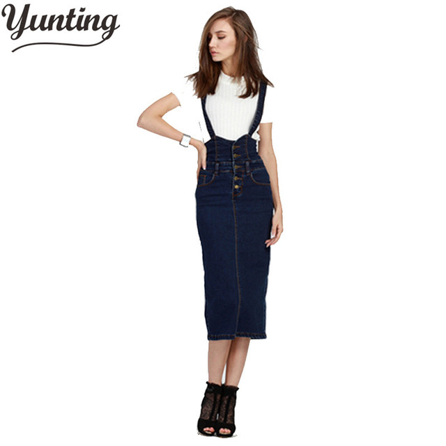 5bae8d7caf Plus Size Women Clothing Denim Suspender Skirt Long 2019 Hot Sale Korean  Style Casual Pencil Women Jean Skirts 3XL