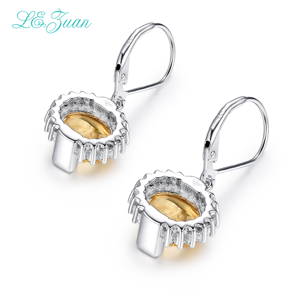 I&zuan 4.81ct Natural Citrine Drop Earrings Real 925 Sterling Silver Jewelry Lace Luxury ...