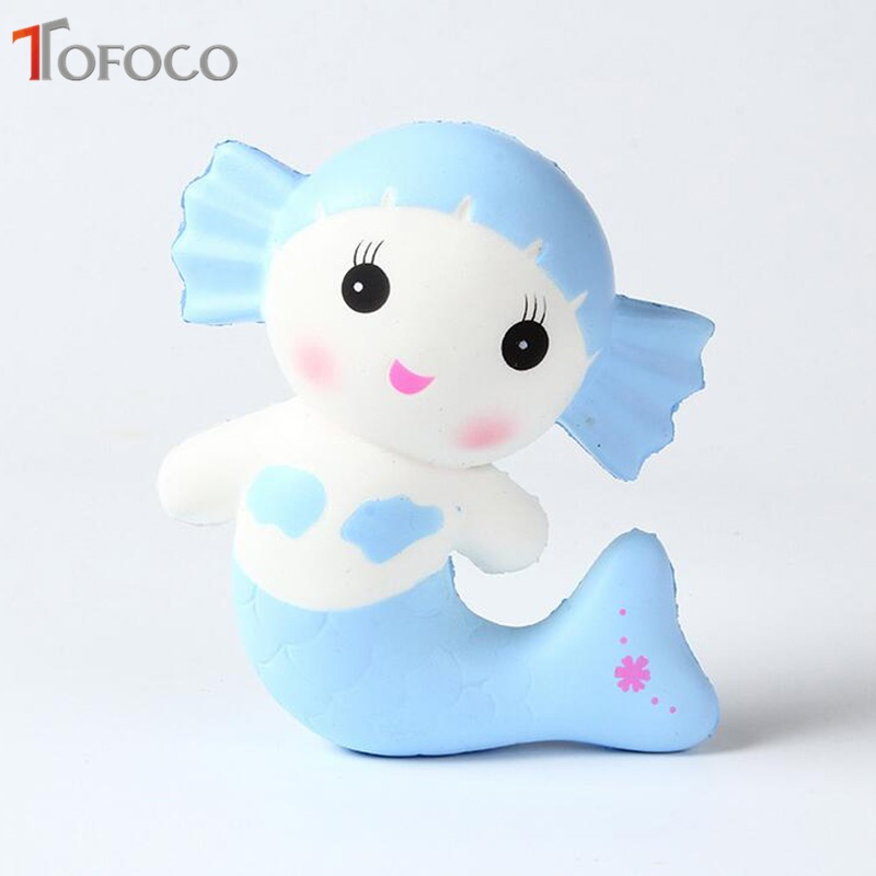 TOFOCO New 15cm Kawaii Mermaid Squishy Jumbo Slow Rising Toys Antistress Soft Decor Cake Squishies Animal Squeeze Scented Gadget