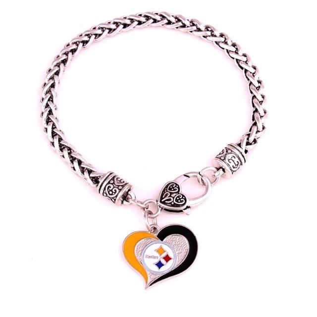Zinc Alloy Football Pittsburgh Steelers Enamel Charm Bracelets Jewelry