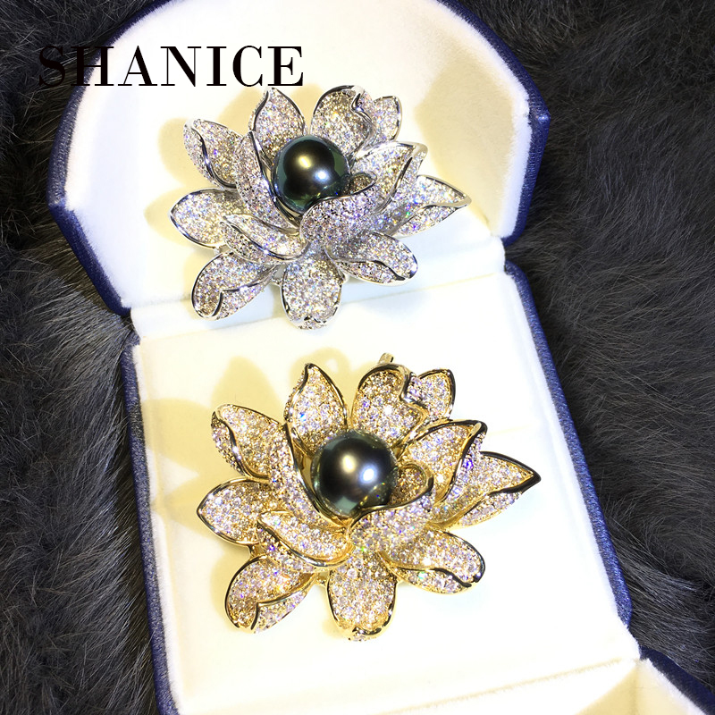 SHANICE Silver & Gold Color Bridal Jewelry Unique Rhinestone Flower Pearl Design Micro Cubic Zircon CZ Brooch Pin High Quality faux pearl rhinestone unique brooch