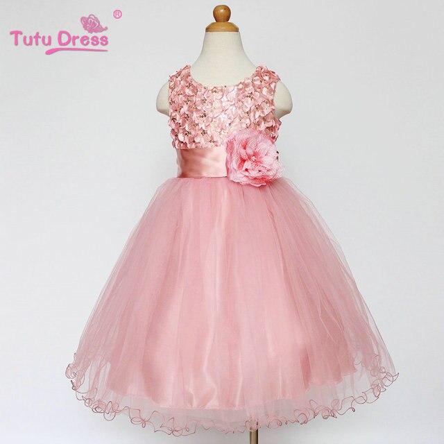 Baby Дети 1-12 Год Девушки Рукавов Платье Принцессы Вечеринка Одежда Красный Розовый Solid Платье