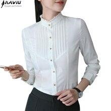 ربيع الموضة النساء ملابس طويلة الأكمام البلوزات البيضاء الرسمية ضئيلة الدانتيل الوقوف طوق الشيفون قميص مكتب السيدات بلوزات حجم كبير