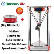Alta Precisión 3 D Delta Impresora 3D DIY Pro Auto nivel Prusa Reprap Kossel 3d Para Imprimir Kit Máquina Con Cama Caliente inyección