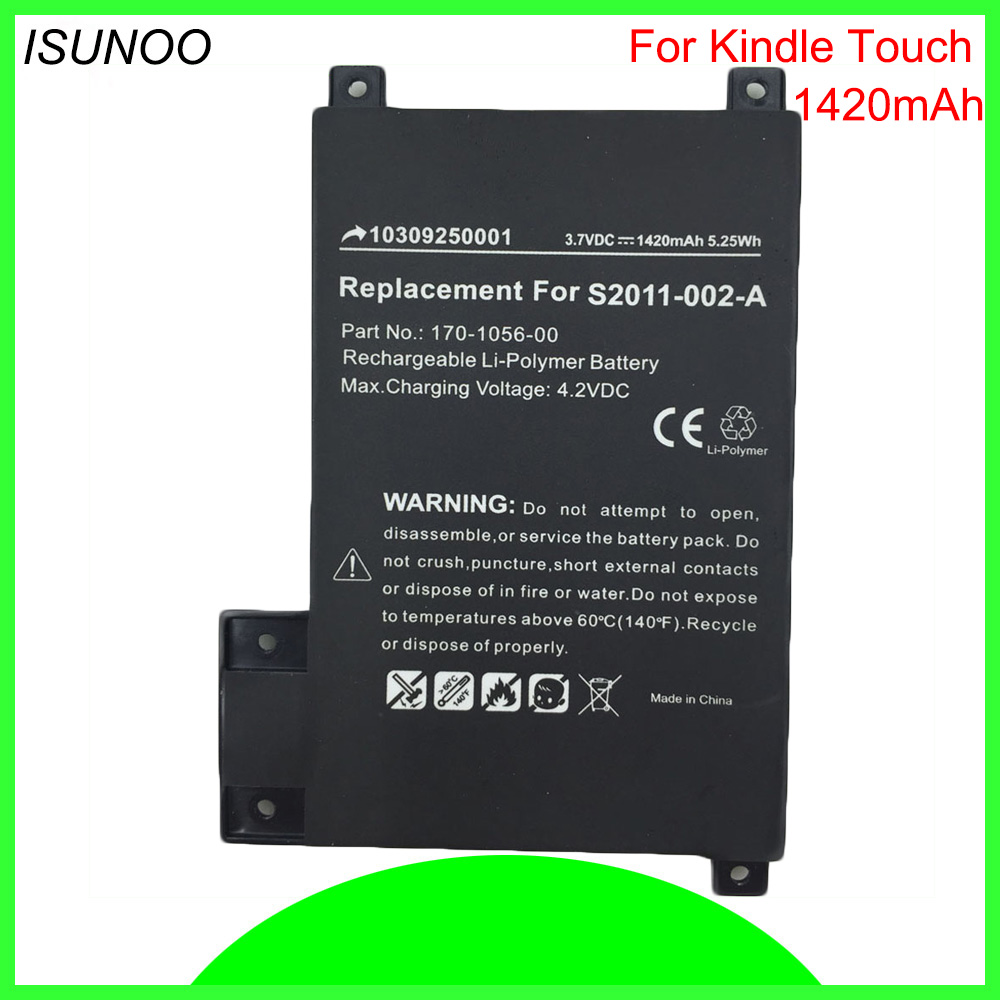 ISUNOO 1420mAh Battery For Amazon Kindle Touch 6 eReader D01200 DR-A014 170-1056-00 S2011-002-A For kindle 5 battery