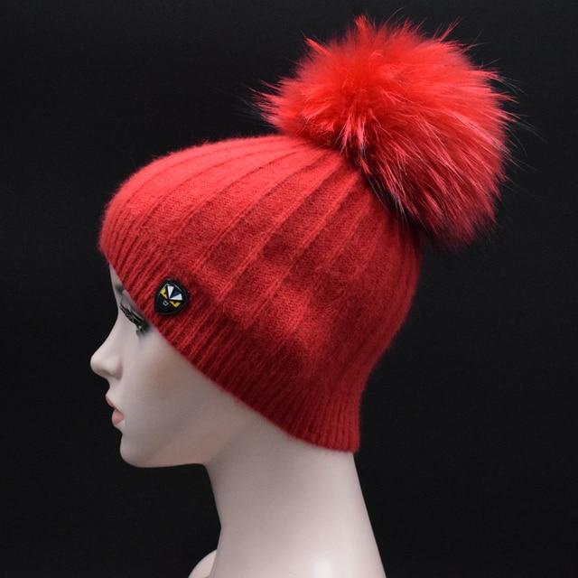 MIGEDE Brand Big Real Raccoon Fur pompoms Caps Crochet Casual Hats Angora  Beanie caps For women luxury female Winter Fur hat 7b507289e2b