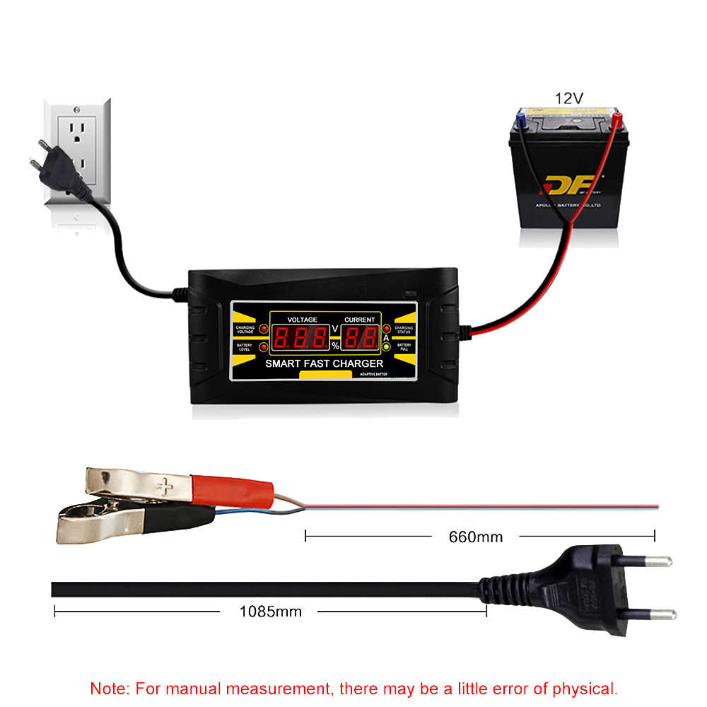 EU Mỹ Sạc Thông Minh 12V 6A Tự Động Nhanh Axit Chì Gel Pin Sạc Adapter 12V Cho Xe Ô Tô Xe Máy xe Tải Màn Hình Hiển Thị LCD 220V