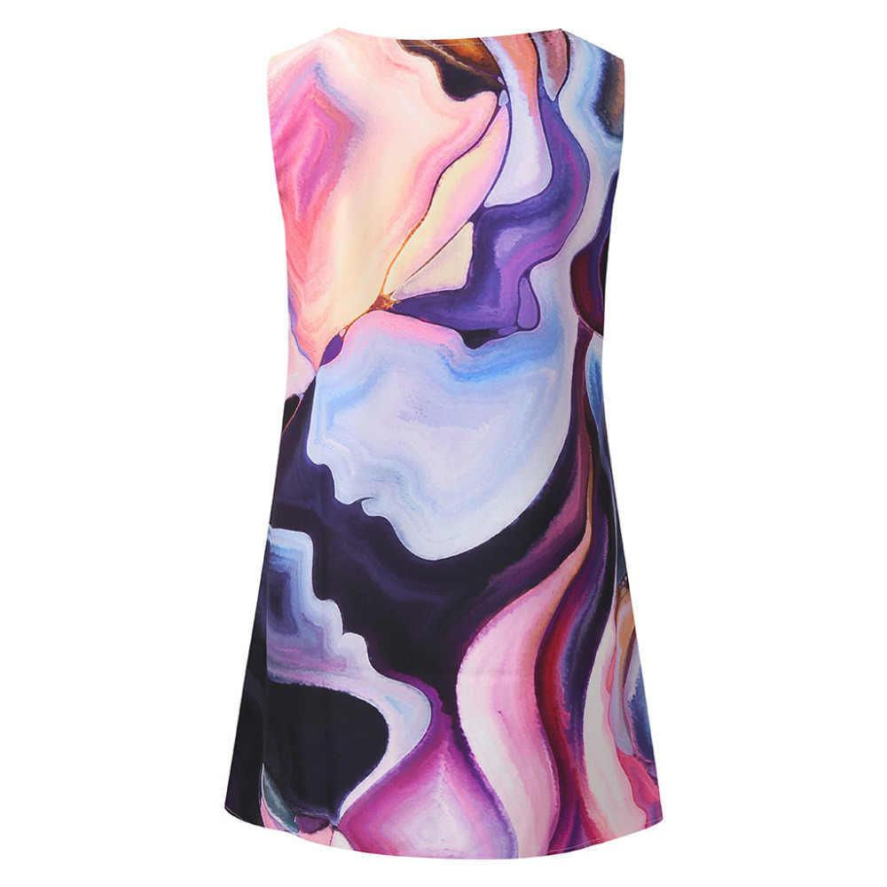 2019 ドレスの女性のファッションノースリーブ女性ギフトプリントドレスエレガントなカジュアル夏の高品質レディースローブフェムセクシーホット販売 DD5