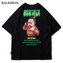 Aolamegs T-shirt Mannen Kinderen Gedrukt heren Shirts O-hals Korte Mouw T-shirt Fashion High Street Tees Hip hop Streetwear(China)