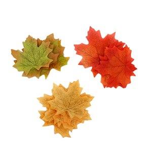 Image 5 - Guirnalda de Hojas de arce artificiales, color naranja, verde y amarillo, hojas de otoño y otoño, y boda decoración de jardín, 100 unidades