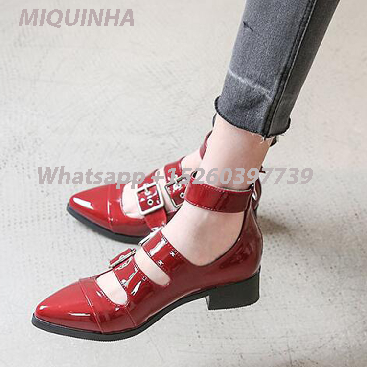 ФОТО New Arrival Spring Simple Fashion Leather Sandals Black Red Waterproof Flats Ankle Wrap Pointed Toe Buckle Mujer Summer Shoes