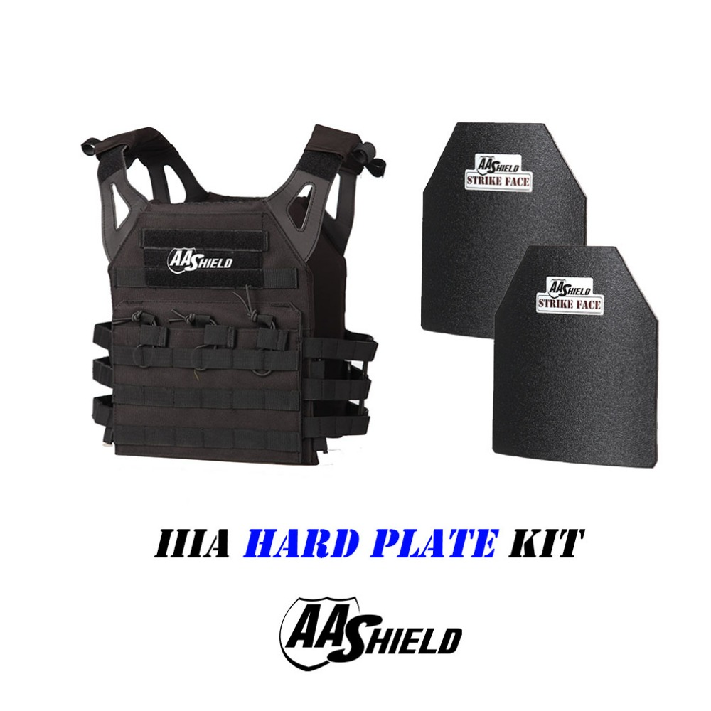 AA Shield Molle Carrier Military Tactical Vest JPC Style Level NIJ IIIA Hard Plate Kit JPC Plate Carrier and Plates Set /Black