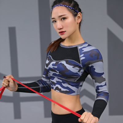 bf0bb44753bd5 Yoga Top Padded T-shirt long sleeve Shirts Patchwork Gym Camouflage black  Crop Tops Mesh Fitness Running Sport T-Shirts Women