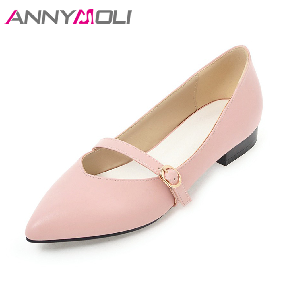 ANNYMOLI Women Shoes Spring Pointed Toe Flats Shoes Buckle Strap Pink Black Big Size 42 43 Autumn Shoes Ladies zapatos mujer new 2017 spring summer women shoes pointed toe high quality brand fashion womens flats ladies plus size 41 sweet flock t179