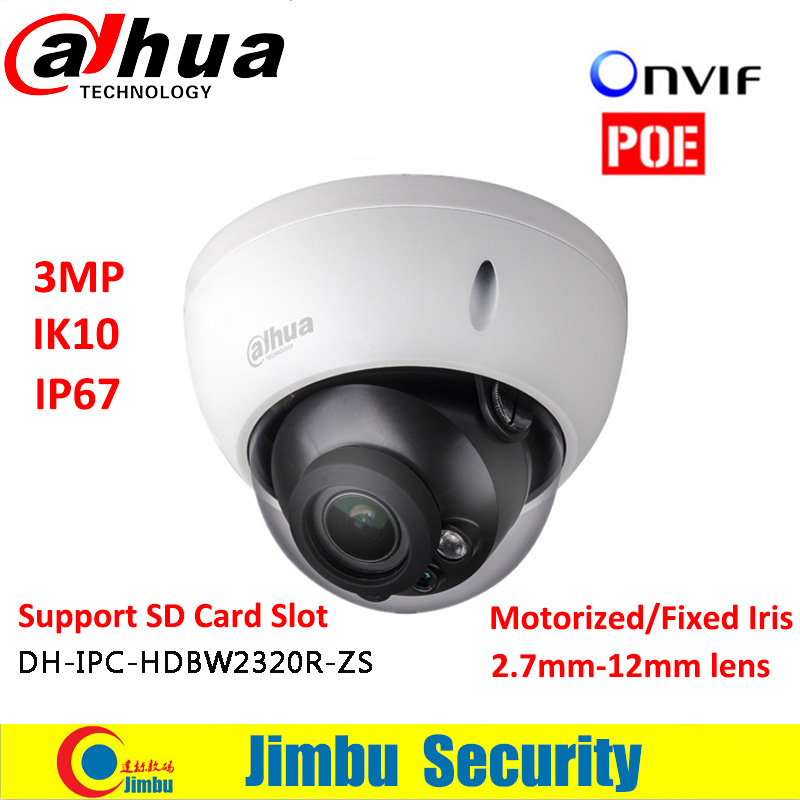 Dahua 3MP POE Dome camera IPC-HDBW2320R-ZS Motorized lens2.7-12mm IP67 IR with Micro SD card slot Supports 128GB dahua 3mp motorized ip camera ipc hfw2320r zs 2 7mm 12mm new model replace for ipc hfw2300r z cctv camera free shipping