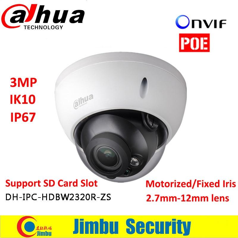 Dahua 3MP POE Dome camera IPC-HDBW2320R-ZS Motorized lens2.7-12mm IP67 IR with Micro SD card slot Supports 128GB dahua motorized lens 2 7mm to 12mm ip camera ipc hfw2320r zs 3mp poe cctv ip camera ir 30m day night vision security ip camera