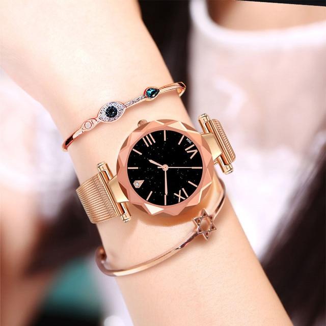 Ladies Watch 2019 New Casual Fashion Woman Design Stainless Steel Mesh belt Analog Alloy Quartz Wrist Watch Clock Orologio #1108