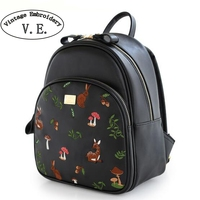 Vintage Embroidery Women Backpack Cartoon Animal PrintsDeer Black PU Leather Mushrooms Shoulder Satchels Book Bags Rucksack