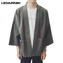 Men Japanese Yukata Coat Kimono Outwear Jacket 3/4 Sleeve Cotton Linen Vintage Loose Top New Fashion 4 Colors Solid 904-828