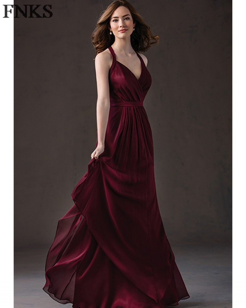 Affordable Wedding Guest Dresses: Cheap Chiffon Dark Wine Bridesmaid Dress Sexy Halter Long