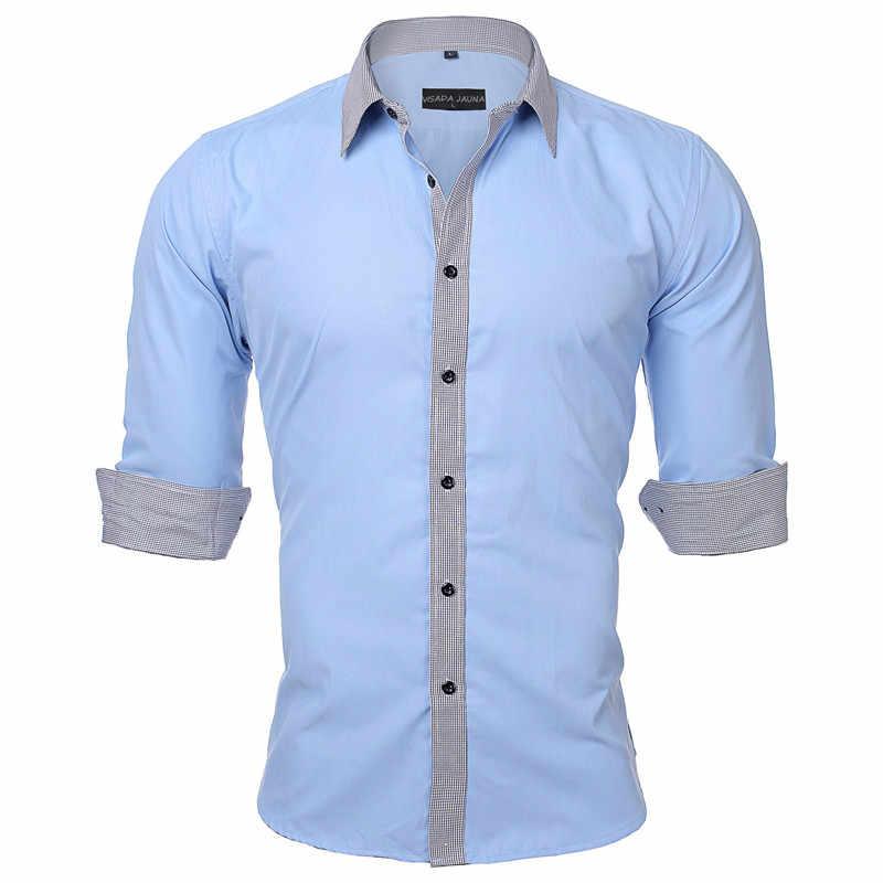VISADA JAUNA ヨーロッパサイズ男性のシャツ新着ソリッドカラーパッチ適用カジュアルブランドの服スリムフィット綿の男性のシャツ n531
