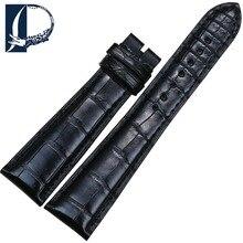 Pesno un grado genuino correa de reloj de correa de piel de cocodrilo negro 21mm 26mm adecuado para bvlgari